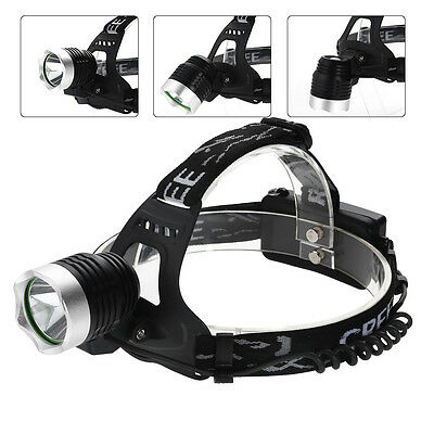 2000LM AGM CREE XM-L T6 LED HeadLight 3 Modes Rechargeable Torch+2x18650