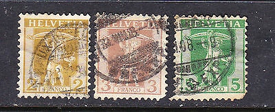 Switzerland postage stamp - 1907 Tells Son 3 x  Used collection odd