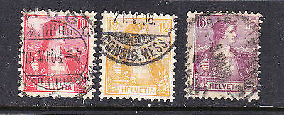 Switzerland postage stamps - 1907 10c,12c,15c  Used collection odds