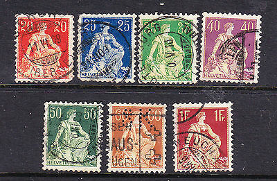 Switzerland postage stamps - 1908 7 x Used collection odds
