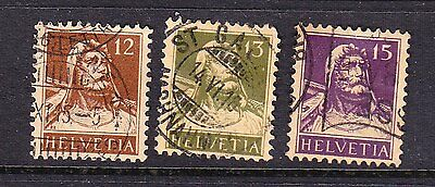 Switzerland postage stamps - 1914 W. Tell 3 x Used collection odds