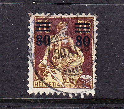 Switzerland postage stamp - 1915 80c on 70c Overprint Used - collection odd