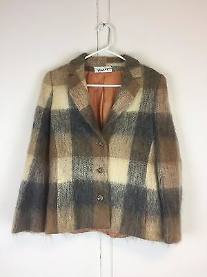 Vintage 80s Blassport Bill Blass mohair color block jacket blazer grey brown S M