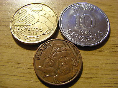 A Collection of 3 Brazil Coins - Dates 1988 - 2012