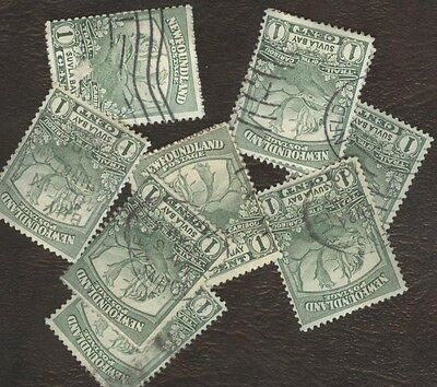 Stamps Canada, 115, 1¢, 1919, Newfoundland ,  lot of 10 used stamps.
