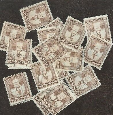 Stamps Canada,133, 3¢, Newfoundland ,  lot of 20 used stamps.