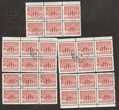Stamps Canada # 434, 3¢, 1964, lot of 5 blocks of 6 used stamps.