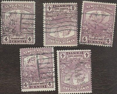 Stamps Canada, 118, 4¢, 1919, Newfoundland ,  lot of 5 used stamps.