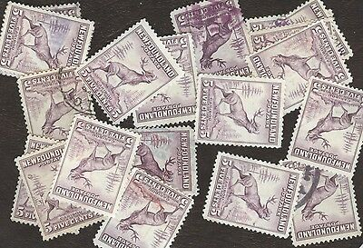 Stamp Canada # 257, 5¢, Newfoundland , lot of 20 used stamps.
