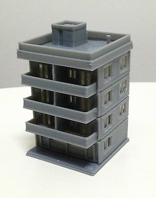 Outland Models Railway Modern City Building 4-Story Apartment Z Gauge 1:220