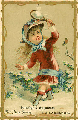 "Victorian Trade Card ""partridge & Richardson Bee Hive Stores"" 3"" X 5"""