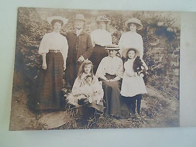 Vintage Real Photo Postcard Victorian Family Scene Vintage Fashions & Dogs