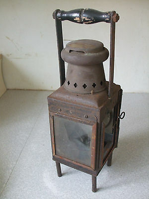 Antique Industrial / Railway ? Inspection Oil Wick Lamp - Sits On 4 Feet