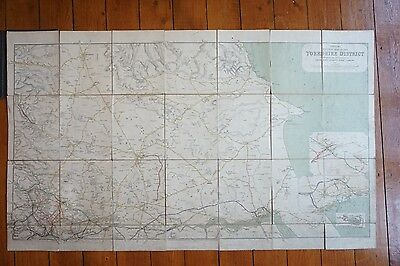 1918 Railway Clearing House RCH Map of Yorkshire District North Linen Backed