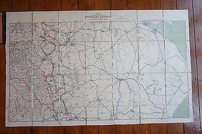1923 Railway Clearing House RCH Map of Yorkshire District South Linen Backed