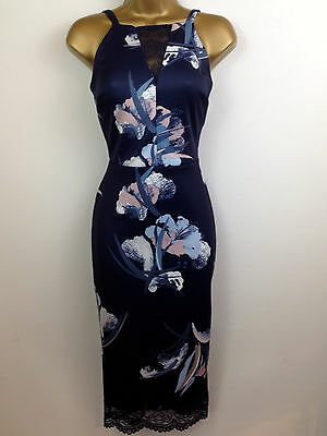 Next Navy Floral Bodycon Wiggle Pencil Scuba Evening Dress Party UK Size 6