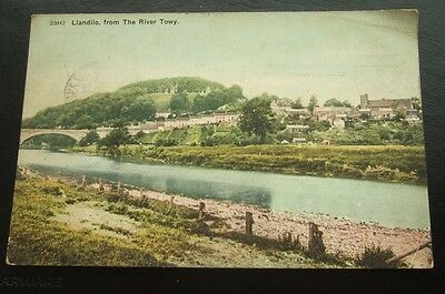 Postcard : Llandeilo, From the River Towy : Carmarthenshire Wales. Posted 1911