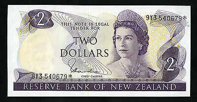 Reserve Bank of New Zealand 2 Dollars ND (1977-81) P-164d Star Replacement UNC