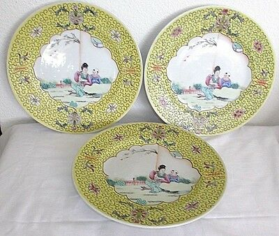 "3 Antique Chinese 9"" Porcelain Plates, Hand Painted Garden Scene, Yellow Band"