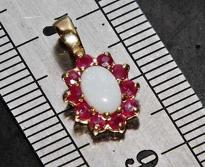 Beautiful 9ct Yellow Gold Natural Opal & Ruby Ladies Cluster Pendant