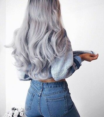 Lullabellz Silver Grey Synthetic Hair Extensions 180g Weft Straight 20 Inch BN