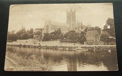 Postcard : Worcester Cathedral by Great Western Railway : Posted 1907