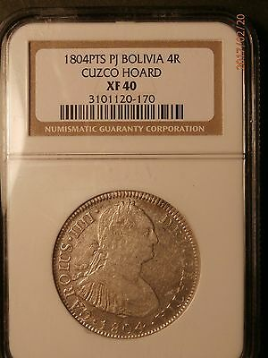 1804 Cuzco Bolivia 4 Reals Ngc Certified Xf 40 Rare This Nice C465