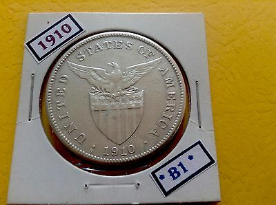 Philippines Coin 1910-S One 1 Peso Silver Us Administration Era