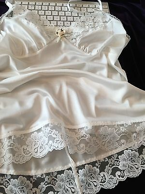 Vintage Style Lacy White Camisole Top Sissy Glamour Lingerie Satin like Nylon