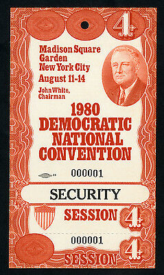 1980 Democratic National Convention DNC Security Pass No. 000001 ABNC Session 4