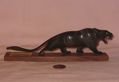 Genuine Handcrafted Wooden Sabertooth Tiger Figurine; Made In India