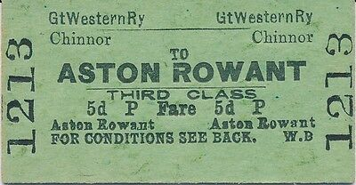 GWR - Chinnor to ASTON ROWANT railway ticket 1213 (Oxfordshire Stations)