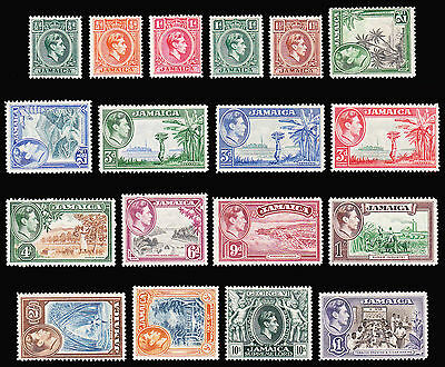 Jamaica KGVI 1938-52 set of 18 very fine MLH SG 121/133a CV £150 as MNH