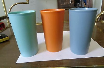 3 Vintage Tupperware 12oz Tumblers Cups  #873- Blue, Orange & Aqua