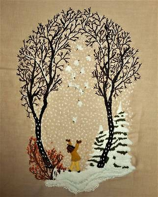 """Woodland 20"""" Trees Birds Girl Vtg Finished Completed Wall Art Crewel Embroidery"""