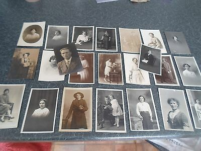 JOB LOT  23  Vintage Real Photo Postcards LADIES MEN+CHILDREN Mainly North East