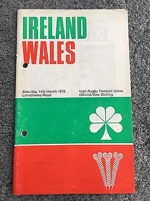 Ireland v Wales Rugby Programme 1970