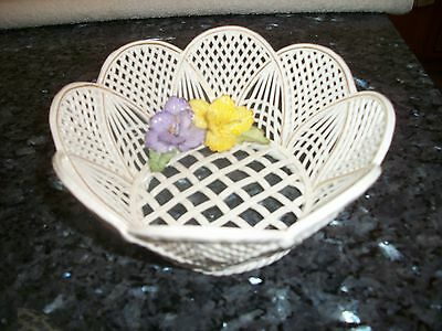 Dresden Porcelain Open Lattice Work Bowl with Two Pansies