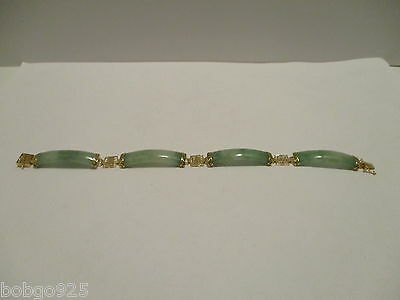 Bracelet Green Jade 14k 585 Yellow Gold Jadeite 6 7/8 inches long 11.5 grams