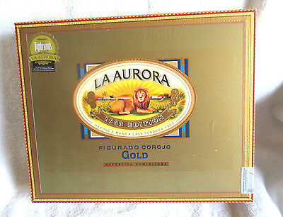 La Aurora Figurado Corojo Gold Tubos Doble Figuardo Wood Cigar Box - Beautiful!