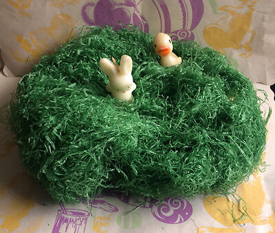 Wax EASTER GRASS Vintage Basket Decor Shreds Holiday Decoration 2.3 Oz. 1950's