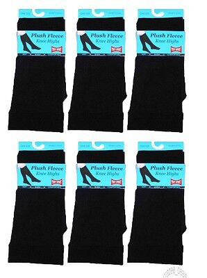 Lot Of 6 Pair Women's Plush Fleece Lined Knee High Boot Socks Black Size 9-11
