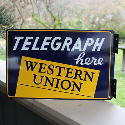 Vintage Western Union Telegraph Here Double Sided Porcelain Flange Sign NOS