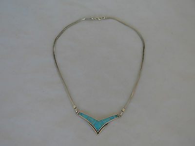 Vintage Native American Sterling & Turquoise Signed Necklace