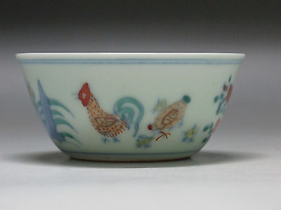 Chinese Doucai Blue and white porcelain Tea Cup draw chicken flowe Cup Have mark