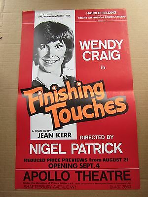 1970s Small London Theatre Poster Wendy Craig in 'Finishing Touches'