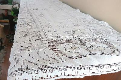 Antique Filet Floral Lace Buffet Table Runner Altar Cloth Daffodil   25x60