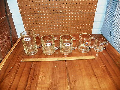 Vintage Lot of 5 A&W  ROOT BEER Glass Mugs - Different Sizes