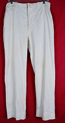 Vintage 1920s 30s Buckleback Buttonfly White Cotton Canvas Pants 32 31
