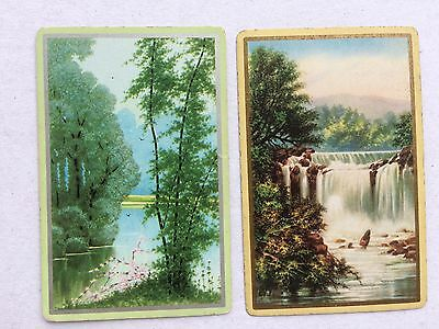 Vintage Swap / Playing Card Pair - Waterfall / Forest / River Scenes